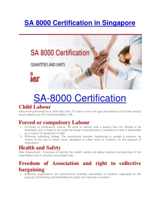 SA 8000 Certification in Singapore