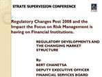 Regulatory Changes Post 2008 and the Impact the Focus on Risk Management is having on Financial Institutions.