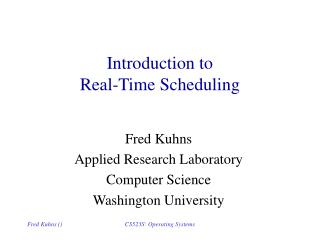Introduction to  Real-Time Scheduling