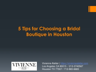 5 Tips for Choosing a Bridal Boutique in Houston