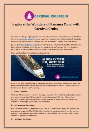 Explore the Wonders of Panama Canal with Carnival Cruise