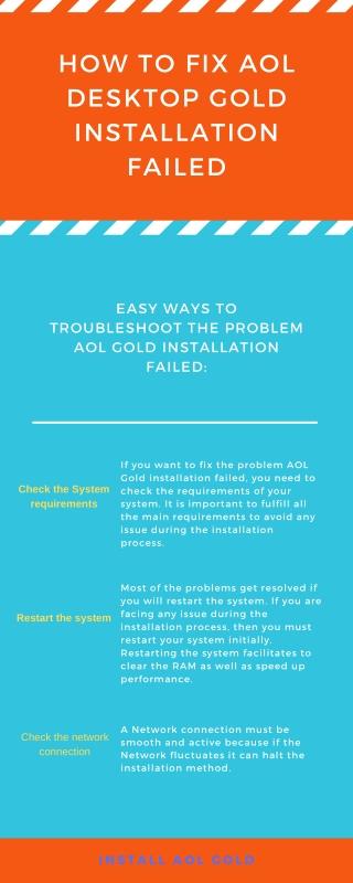 Fix AOL Gold Installation Failed Error