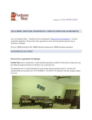 VELACHERY SERVICED APARTMENTS   CHENNAI SERVICED APARTMENTS