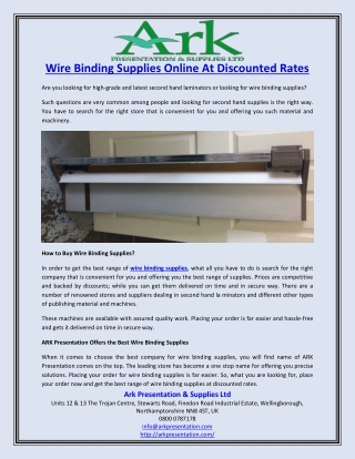 Wire Binding Supplies Online At Discounted Rates