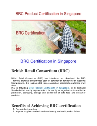 BRC Certification in Singapore