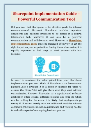 Sharepoint Implementation Guide – Powerful Communication Tool