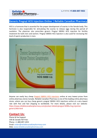 Generic Pregnyl HCG Injection Online