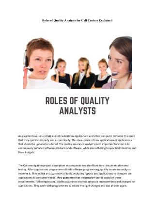 Roles of Quality Analysts for Call Centers