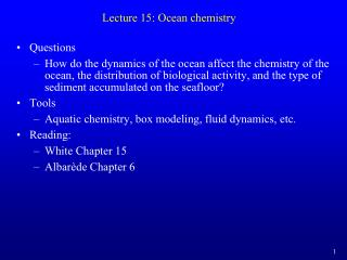 Lecture 15: Ocean chemistry