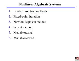Nonlinear Algebraic Systems