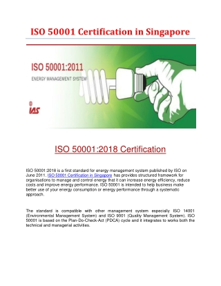 ISO 50001 Certification in Singapore