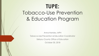 Tobacco Reduction and Prevention Activities       1998-2005