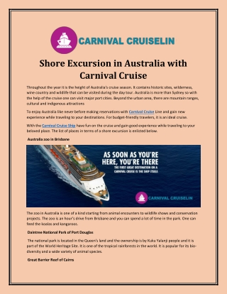 Shore Excursion in Australia with Carnival Cruise