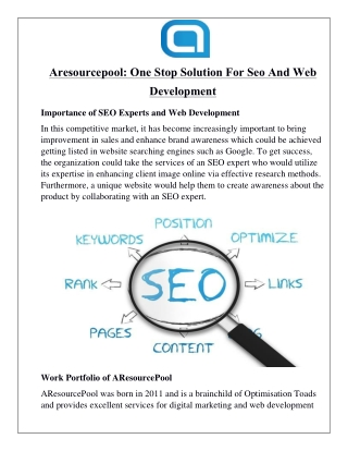 Aresourcepool: One Stop Solution For Seo And Web Development