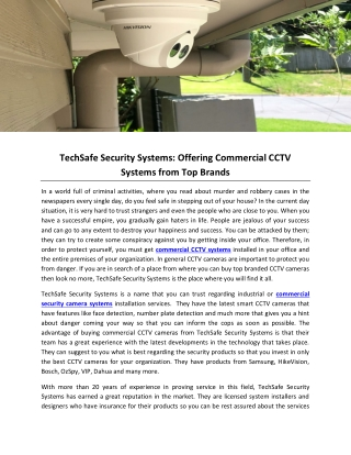 TechSafe Security Systems: Offering Commercial CCTV Systems from Top Brands