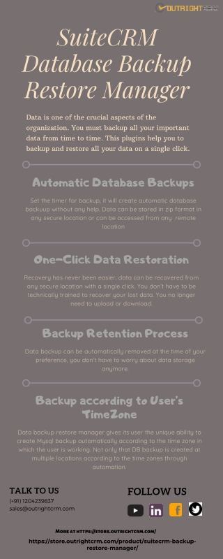 Automatic SuiteCRM Backup Restore Manager | Outright Store