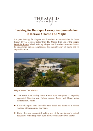 Looking for Boutique Luxury Accommodation in Kenya? Choose The Majlis