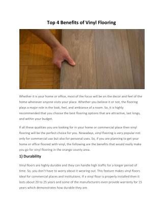 Top 4 Benefits of Vinyl Flooring