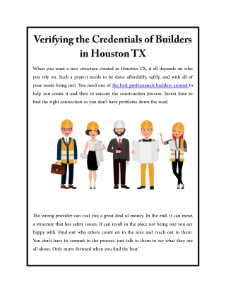 Verifying the Credentials of Builders in Houston TX