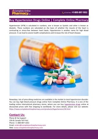 Buy Hypertension Drugs Online