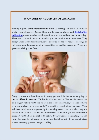 Importance Of A Good Dental Care Clinic