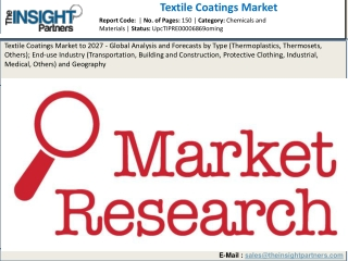 Textile Coatings Market Specification, Growth Drivers, Industry Analysis Forecast – 2027