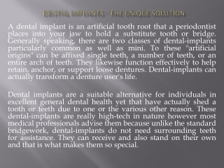 Dental Implants - The Unique Solution