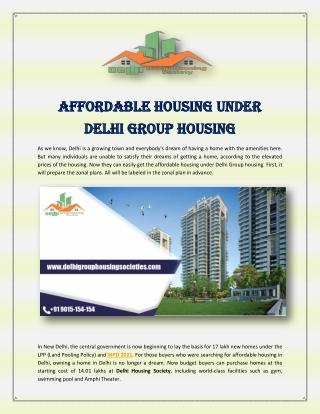 Affordable Housing Under Delhi Group Housing