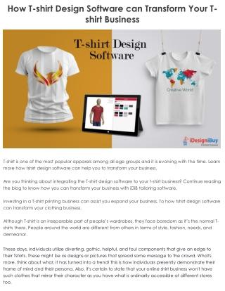 How T-shirt Design Software can Transform Your T-shirt Business?