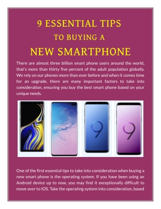 9 ESSENTIAL TIPS TO BUYING A NEW SMARTPHONE