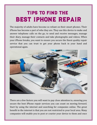 TIPS TO FIND THE BEST IPHONE REPAIR