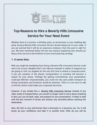 Top-Reasons to Hire a Beverly Hills Limousine Service for Your Next Event