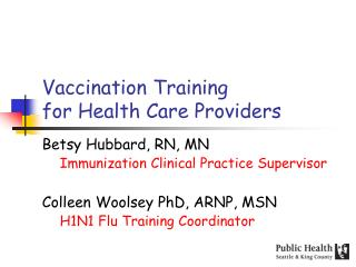 Vaccination Training  for Health Care Providers