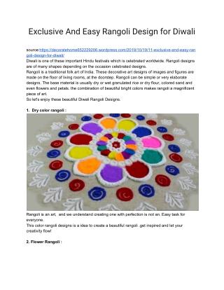 best Rangoli Designs for Diwali Decoration