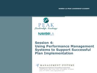 Session 4: Using Performance Management Systems to Support Successful Plan Implementation