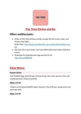 Thai Thani Kitchen and Bar menu - Asian, Thai Restaurant Fitzroy VIC