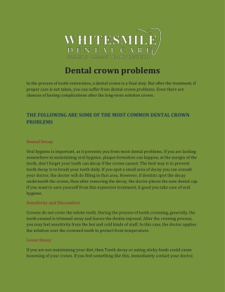 Dental Crown Problems
