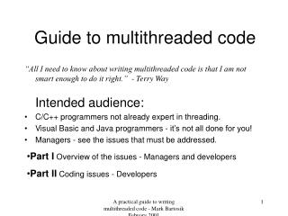 Guide to multithreaded code