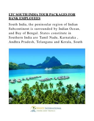 LTC SOUTH INDIA TOUR PACKAGES FOR BANK EMPLOYEES