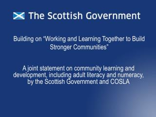 """Building on """"Working and Learning Together to Build Stronger Communities"""""""
