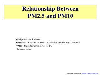 Relationship Between  PM2.5 and PM10