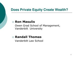 Does Private Equity Create Wealth?