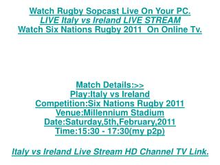 Now SiX NaTions rUgBy!!Republic of Ireland vs Italy LIVE HD