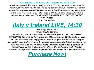 Watch Italy v Ireland live | RBS Six Nations | Internet TV