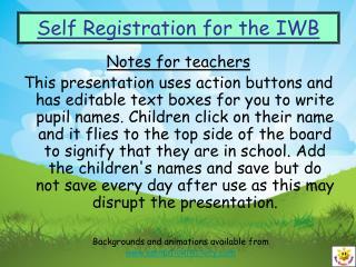 Self Registration for the IWB