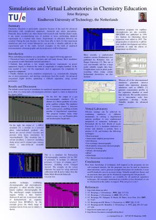 Simulations and Virtual Laboratories in Chemistry Education Jetse Reijenga Eindhoven University of Technology, the Nethe