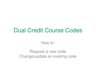 Dual Credit Course Codes