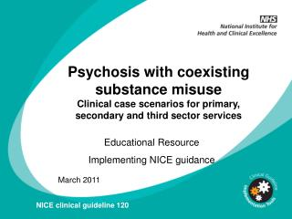 Psychosis with coexisting substance misuse  Clinical case scenarios for primary, secondary and third sector services