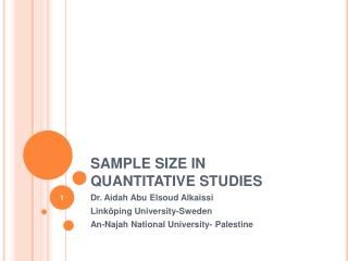 SAMPLE SIZE IN QUANTITATIVE STUDIES