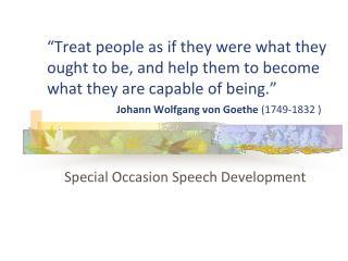 Special Occasion Speech Development